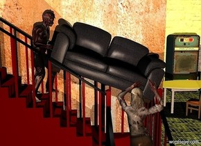 a maroon staircase. the railing of the staircase is black. 1st 4.8 foot tall zombie faces right. he is -6.75 feet above and -5.75 feet in front of the staircase. a 6 foot wide sofa is -5 feet above and -1 foot right of the zombie. it leans to the left. a 5.2 foot tall zombie faces back. he is -2.5 feet in front of and -10.4 feet above and -2.5 feet right of the staircase. he leans  to the front. a 20 foot tall and 14 foot wide wall is behind the staircase. it is 11 foot tall [wall]. camera light is black. it is night. ground is tile. a 40 foot tall and 41 foot wide white wall is 20 feet behind the wall. a big  vending machine is in front of and -6 feet right of the wall. a white table is 5 feet in front of and -3 foot left of the vending machine. a chair faces northwest. it is -1 foot in front of the table. a tiny lemon light is 8 feet above the table. a tiny peach puff light is 20 feet in front of  the sofa. a tiny linen light is  above and left of the staircase. a tiny gray light is left of and above the zombie.