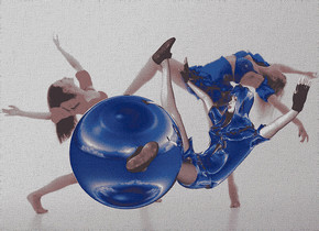 a 200 inch tall silver sphere.a 300 inch tall silver cheerleader is -140 inch right of the sphere.the cheerleader is facing the sphere.the head of hair of the cheerleader is silver.the backdrop is [adult].