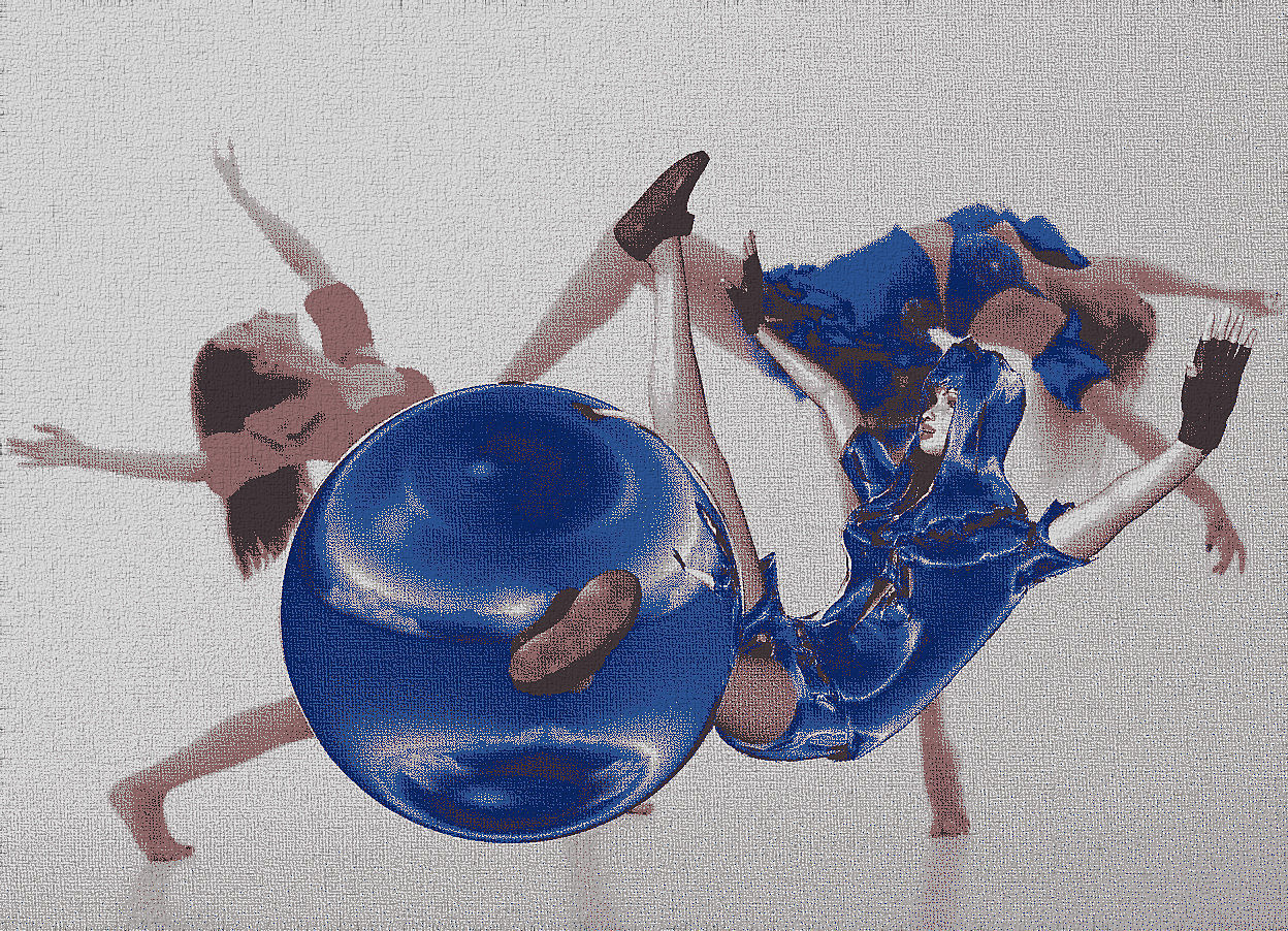 Input text: a 200 inch tall silver sphere.a 300 inch tall silver cheerleader is -140 inch right of the sphere.the cheerleader is facing the sphere.the head of hair of the cheerleader is silver.the backdrop is [adult].
