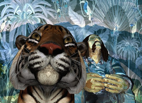 a shiny [ec] backdrop.sky is 3000 feet tall.a 100 inch tall tiger.a 160 inch tall shiny  brute is -12 inch right of thr tiger.the brute is -60 inch above the tiger.the shirt of the brute is 50 inch wide [ec].the human body of the brute is shiny tan.