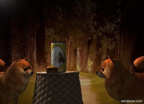 A dog cylinder is -0.5 inch above a basket. The basket is upside down. Forest backdrop. Camera light is black. A cream light is left of and above the cylinder. A dim light is in front of the cylinder. A large dog is left of the basket. It is facing the cylinder. A large dog is 4 inch right of the basket. It is facing the cylinder. A burger is 2 inch in front of the cylinder.
