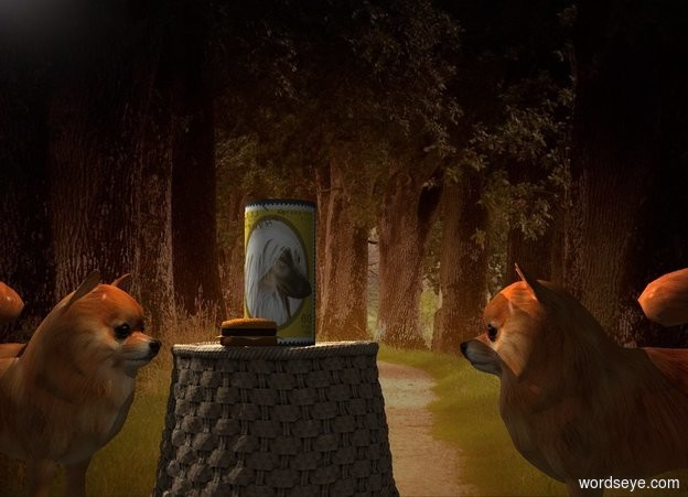 Input text: A dog cylinder is -0.5 inch above a basket. The basket is upside down. Forest backdrop. Camera light is black. A cream light is left of and above the cylinder. A dim light is in front of the cylinder. A large dog is left of the basket. It is facing the cylinder. A large dog is 4 inch right of the basket. It is facing the cylinder. A burger is 2 inch in front of the cylinder.