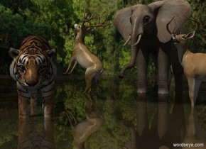 Sun's azimuth is 180 degrees. Sun's altitude is 45 degrees. Camera light is black.  [forest] sky.  1st deer faces west. He is -0.5 feet above the 30% dark shiny orange grass ground.  1st tiger is 0 feet west of him and 0 feet south of him. He faces southeast. 1st elephant is -7 feet east of him and 3 feet north of him. 2nd deer is -11 feet north of him and -3 feet west of him. He faces west. He leans 45 degrees to the back.