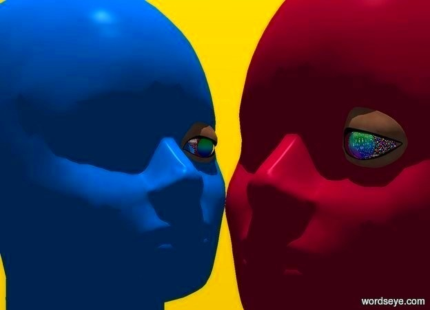 Input text: a 10 foot tall fuschia head. a 1st 1 foot tall shiny rainbow eye is -1.5 feet in front of and -4.75 feet above and -2.7 foot right of the head. the body of the eye is silver. a 10 foot tall dodger blue head is -1 foot left of and -4 foot in front of the head. it faces right. a 2nd 1 foot tall rainbow eye faces right. it is -4.75 feet above and -1.5 foot right of and -2.7 feet behind the dodger blue head. the body of the eye is silver. backdrop is lemon. sun is linen. it is noon. camera light is black.