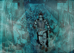 a shiny [sl] backdrop.sky is [mc].sky is 3000 feet tall.a 50 inch tall shiny cyan soldier.the soldier leans 30 degrees to the front.the  vest of the soldier is shiny cyan.