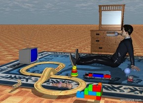 man on the big rug. the rug on the ground. ground is floor. tv is 3 feet in front of the man. the tv is facing to the man. the tv is gray. the tv's screen is blue.  train is 1 feet right of the man. big train set is -5 inch  in front of the train. 1st toy block is 2 feet right of the train. 1st toy block is facing to the man. 2nd toy block is 3 feet in front of the 1st toy block.  dresser is 3 feet  left of the man. the dresser is facing to the man.  toy rings is 5 inches in front of the train. the toy rings is facing to the east.  small baby is 1.5 feet right of the toy rings. the baby tilted 90 degrees to the north.  big baby bottle is -42 inches in front of the man. the baby bottle is 27 inches above the rug. the baby bottle's body is white. the baby bottle tilted 90 degrees to the north.  yo yo is 10 inches behind  the train. rattle toy is 5 inches left of the yo yo. the rattle toy is 10 inches tall.  the rattle toy tilted 90 degrees to the southwest.