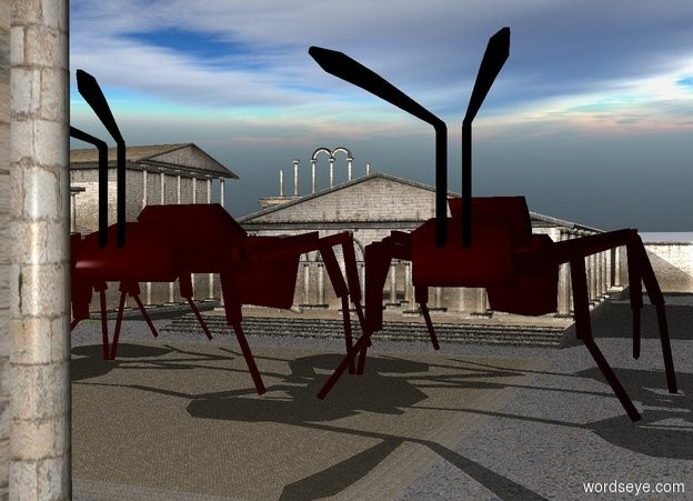 Input text: 3 100 foot tall ants are on the ground.