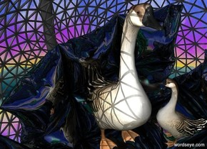 a silver swing. 3d ground is invisible. the swing's cushion is shiny. a bird is -4.5 feet above the swing. a small goose is -.5 feet in front of and right of the bird. it faces the bird.