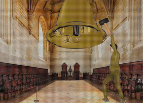 a 40 inch tall silver bell.sky is green bronze.backdrop is church.ambient light is gray. a 40 inch tall shiny yellow man is -5 inch right of the bell.the man is -80 inch above the bell.camera light is linen.ambient light is linen.a 20 inch tall mallet is -5 inch above the man.the mallet leans 20 degrees to right.