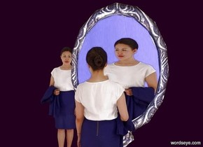 1st 11 foot tall mirror is 3 feet in the ground. a marble is 10 feet in front of it. a 6 foot tall person is 2  feet in front of the first mirror. the person faces the mirror. she is on the ground. a 2nd 6 foot tall person is 2.5 feet behind and 1 foot left of the person. ground is invisible.a large purple wall is behind the 2nd person. camera light is black. ambient light is linen. sun's azimuth is 0 degrees.