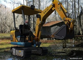 Marsh backdrop. A backhoe. Camera light is black. A light is 10 feet above and 10 feet right of the backhoe. A sitting man is -8.35 feet above and -2 feet left of the backhoe. An alligator is -9 feet in front of and -3 feet right of the backhoe. It is facing northwest.