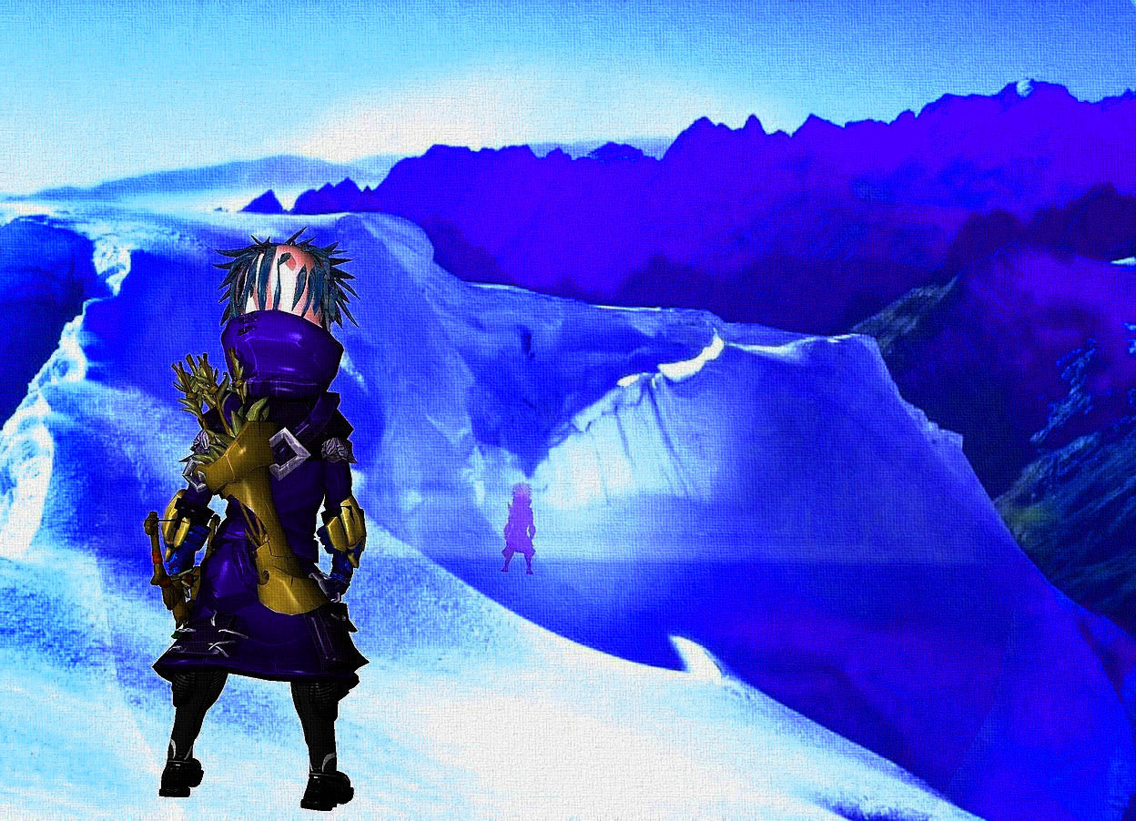 Input text: a 500 inch tall and 500 inch wide shiny [snow] blue disk.backdrop is shiny sky.sky is 3000 feet tall.a 50 inch tall blue forest ranger is 300 inch above the disk.the forest ranger is -250 inch in front of the disk.the forest ranger leans 90 degrees to front.the forest ranger is upside down.the  head of hair of the forest ranger is shiny blue.