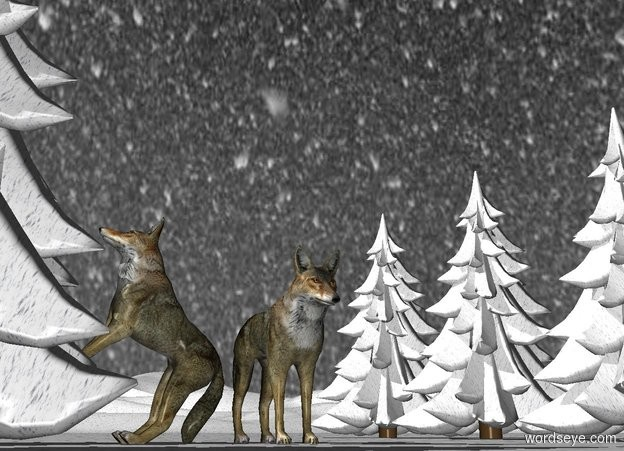 Input text: A wolf is on the [snow] ground.[snow] trees are 3 feet to the left of the wolf. The sky is [snowfall].  5 [snow] trees are 6 feet to the right of the wolf. 2nd wolf is -1 foot behind the wolf and -1 feet west of him. He leans 45 degrees to the back. He faces west. He is -.6 feet above the ground.