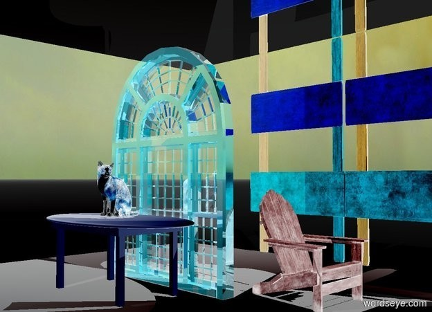 Input text: a 10 foot tall shiny window. a tiny light is  in front of and -5 feet above the window. it is noon. sky. a table is in front of the window. a linen light is 5 feet in front of the table. a silver ceiling is 2 feet above the window.   ground is white. a teal chair is right of and behind the window. it faces right. a 12 foot tall and 20 foot wide and .3 foot deep fence is behind the ceiling. it is on the ground. it is -8 feet right of the window. a sea mist blue light is above the chair. a large cat is on the table.