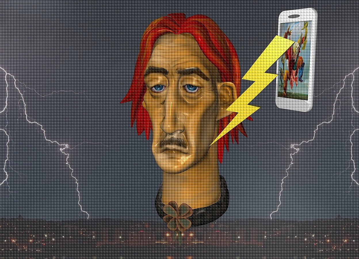 Input text:  a 100 inch tall tan man head.backdrop is shiny [storm].a  40 inch  tall white cell phone is 10 inch right of the man head.the cell phone is facing southwest.the cell phone is -40 inch above the man head.the display screen of the cell phone is [max3] 50 inch tall lightning is in front of the cell phone.the lightning is -60 inch above the cell phone.the lightning leans 20 degrees to left.the lightning is -40 inch right of the cell phone.sky is gray.sun is gray.