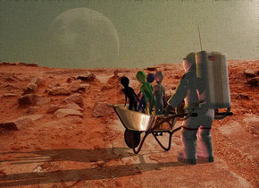 Planet backdrop. Silver wheelbarrow is -1 foot in front of a small astronaut. It is -0.2 inch above the ground. A small alien is -1 foot above the wheelbarrow. A small green alien is in front of the alien. It leans left. A small blue alien is in front of the alien. It leans right. A small black alien is in front of the alien. It leans front. Altitude of the sun is 32 degrees. Camera light is black. Sun is pink. An orange light is in front of and above and right of the alien. Sky is sunset. A scarlet light is right of the wheelbarrow. A dim orange light is behind and above the astronaut.