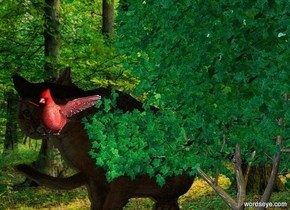 tree. its leaf is spring green. a gigantic red bird is -32 feet above and -10 feet left of and -4 feet in front of the tree.  sun's azimuth is 100 degrees. sun is lemon. a 40 foot tall dark cat is behind and -15 feet left of the tree. it faces back. camera light is black.  an extremely tiny light is beneath and in front of and right of the bird.