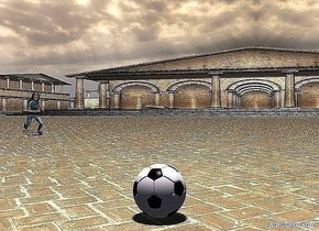 3d ground is 100 feet tall. a ball. a person is running. the person faces the ball. the person is 20 feet behind and 15 feet left of the ball. a peach puff light is 10 feet above the ball. camera light is black. it is noon.