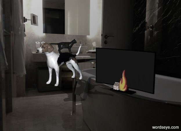Input text: a medium sized box shaped cat on top of a dog standing in bath watching TV next to a fire
