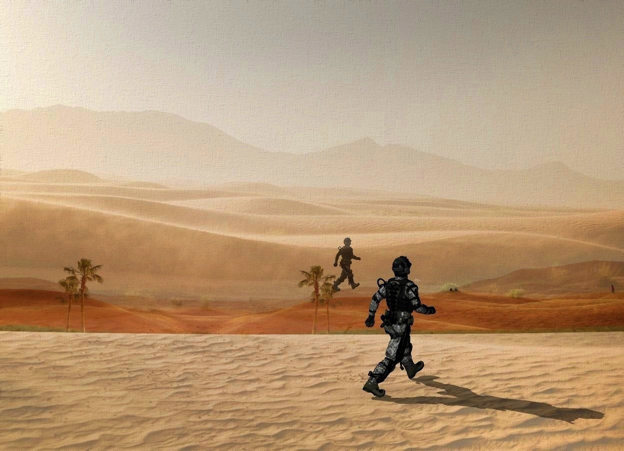 Input text: backdrop is shiny desert.sky is 2400 feet tall.a 1200 inch tall soldier is facing northeast.