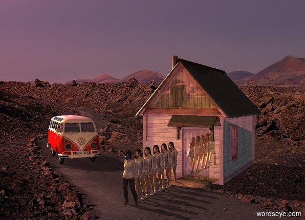 Input text: shiny red building. A woman is -1 foot in front of the building. A woman is in front of the woman. A woman is in front of the woman. A woman is in front of the woman. A woman is in front of the woman. A woman is in front of the woman. A 8 feet high vehicle is 9 feet left of the building. It is facing the woman. Camera light is brown. Sun is scarlet. 2 pink lights are 4 feet above and 6 feet left of the vehicle. 2 dim amber lights are 2 feet in front of and 4 feet above the woman. An orange light is 20 feet left of and 10 feet in front of and above the vehicle.