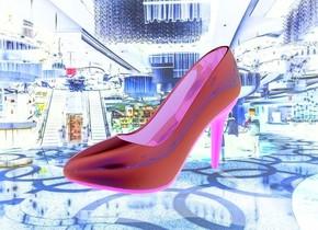 a [casino] backdrop.a 100 inch tall shiny malachite green pump shoe. the heel of the pump shoe is green.