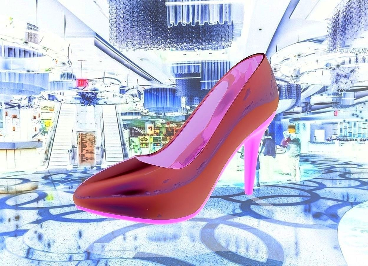 Input text: a [casino] backdrop.a 100 inch tall shiny malachite green pump shoe. the heel of the pump shoe is green.
