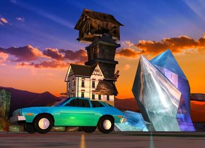 There is a shiny teal car. there is a marble 1 inch in front of the car. There is a 1st 6 foot tall house. the 1st house is 6 feet behind the marble. the 1st house is 2 feet above the ground. a 2nd 10 foot tall house is 5 feet behind the marble. the 2nd house is 4 feet above the ground. a 3rd house is 7 feet behind the marble. The 3rd house is 4 feet tall. The 3rd house is 11 feet above the ground. there is a shiny teal crystal. the crystal is 50 feet behind the car and 50 feet to the left of the car. the crystal is 50 feet tall.  a very large blue light is to the right of the crystal. A 1st very large teal light is above the crystal. a 2nd very large teal light is to the right and in front of the crystal. the sun is lavender. the camera light is pink. there is a large orange light to the right of the car.