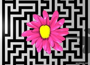 The  image-15933 backdrop. The ground is invisible. A blossom is pink plum. The blossom is 200 feet high. The brain is 0.1 feet above the flower. The brain is 60 feet high. The brain is yellow and orange. The brain is 5% translucent. Light is 250 feet above the blossom.