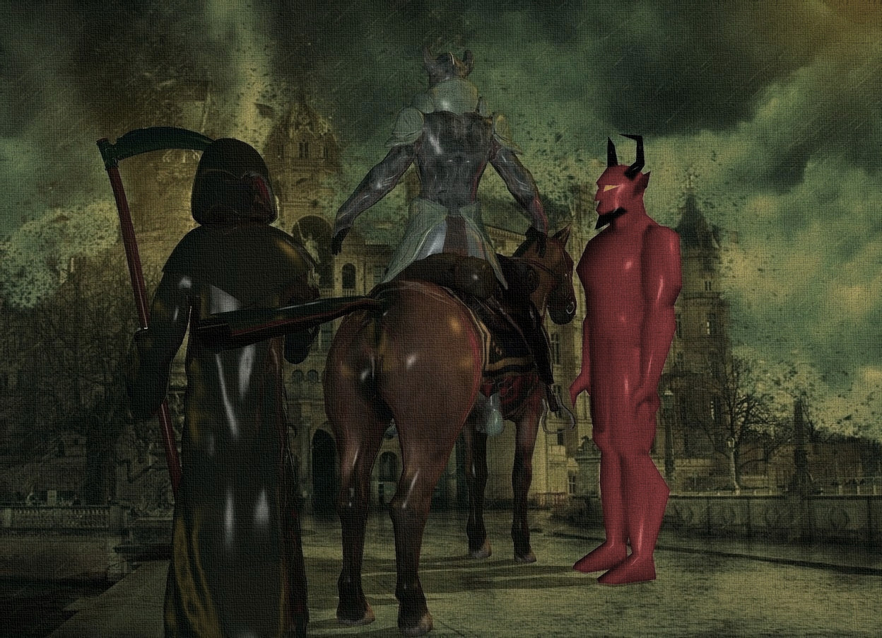 Input text: a 100 inch tall shiny horse.sky is 10000 feet tall.a 100 inch tall shiny  knight is -60 inch above the horse.the horse is facing southwest.a 120 inch tall  maroon devil is -50 inch  left of the horse.the devil is facing the knight.camera light is linen.backdrop is shiny.sky is petrol blue.a 120 inch tall shiny grim reaper is -60 inch right of the horse.the blade of the grim reaper is silver.sun is orange.