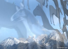 a shiny white horse. it is noon. a 20 foot tall and .1 foot wide and 20 foot deep clear cube is .1 foot in the ground. it is 2 feet left of the horse. ground is silver.  a huge wall faces right. it is 10 foot tall [horse]. it is right of the horse.