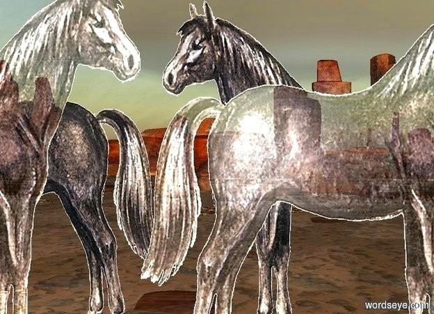 Input text:   a huge shiny wall faces right. it is 10 foot tall [horse].