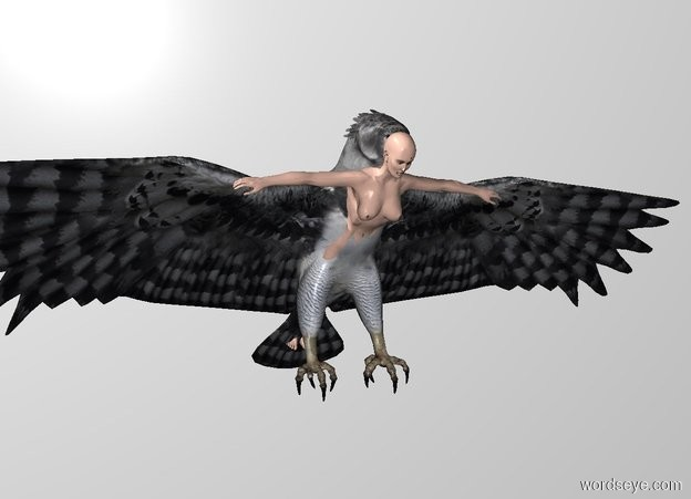 Input text: THE WHITE BACKDROP. THE GROUND IS INVISIBLE. a 1.1 feet tall woman is -.885 feet in front of and -.95 feet above the eagle. she leans 48 degrees to the front.
